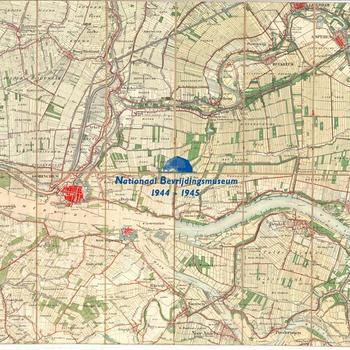 """Stafkaart Nederlands, schaal onbekend, combinatie No. 527 ( Hoogblokland), 528 (Asperen), 548 (Gorcum), 549 (Brakel) met stempels """"School voor Reserve officieren der Cavalerie """""""