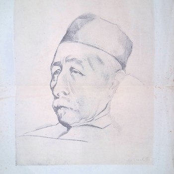 Vel met tekening van Pieter Jelles Troelstra, met tekst `Aan de kameraden, die de V.A.R.A. tot het einde van haar bestaan als omroep/organisatie trouw bleven, 31 december 1940`