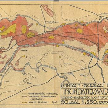 Kaart inundatie Betuwe, winter 1944-1945 opgesteld 1946 - 1947