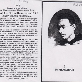 bidprentje Prof. Dr. Titus Brandsma