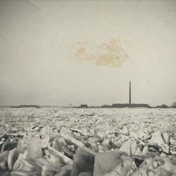 De Rijn bij Lobith, kruiend ijs