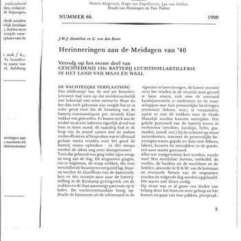Artikel van J.W.J. Hamilton en G. van den Boom, Herinneringen aan de meidagen van '40, deel 2, in Tweestromenland, Maas en Waals tijdschrift voor streekgeschiedenis, nummer 66, 1990, pp. 3-44 (kopie)  (informeel)