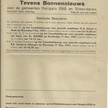 Distributienieuws tevens bonnennieuws voor de gemeenten Hengelo (Gld) en Steenderen, zaterdag 29 november 1941