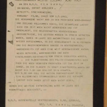 der Befehlshaber der Sicherheitspolizei und des SD für die besetzten Niederlandischen Gebiete  betrifft Streikbewegung 1943
