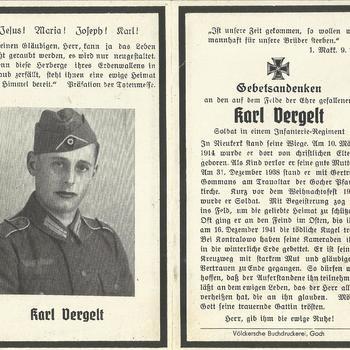 Bidprent van Karl Vergelt