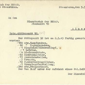 Bericht van de Einsatzstab der NSDAP Abschitt Steenderen, 5 maart 1945