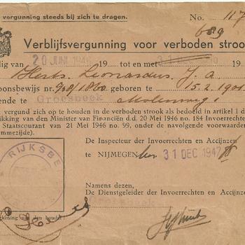 Verblijfsvergunning voor de verboden strook, 1946-1947