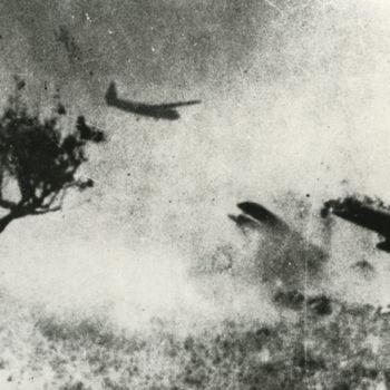 """Foto van Horsa zweefvliegtuigen die in een veld landen. Tekst achterop: """"Horsa's landend tijdens operatie """"Market Garden"""" in de buurt van Arnhem."""