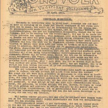 """De Kleine krant van """"Ons Volk""""  Ongenummerd, 18 April 1945"""