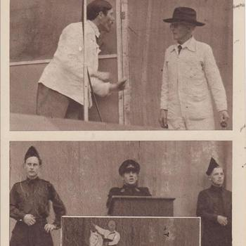 """Fotodruk van Adolf Hitler als schilder en Mussert t.g.v. de uitvoering het toneelstuk """"Van Tyrannie tot Vrijheid"""" in 1945 te Terborg."""