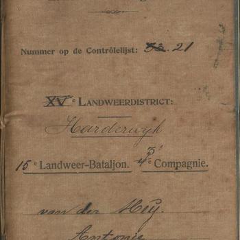 zakboekje, Landweerdistrict Harderwijk, 15e Landweer-Bataljon 3e Compagnie, van A. van der Meij