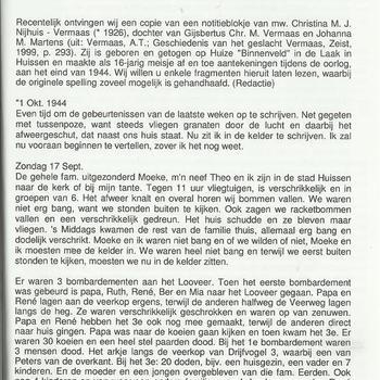 oorlogsdagboek van Christina Vermaas, dochter van Huize Binnenveld, Huissen