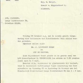 Brief van de Nederlandsche Unie afd. Nijmegen aan mej. M. Meijer te Nijmegen