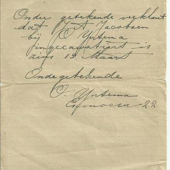 Verklaring van Arbeid, J.A. Jacobsen, zonder datum