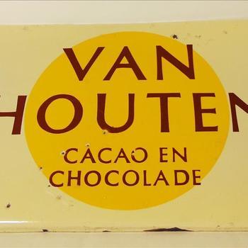 """bord """"Van Houten Chocolade"""", geëmailleerd staal"""