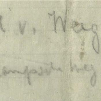 Handgeschreven briefje van de moeder van Jan van Hoof voor   Mien van Wegen    betreffende het overlijden van Jan van Hoof
