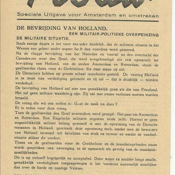 Trouw 24 April 1945 speciale uitgave Amsterdam en omstreken nr. 73