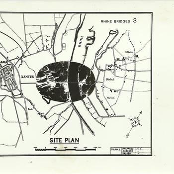 aq. Envelop 24 Rheinbrücke Bislich / Xanten, kaartje rijnbrug bij Xanten