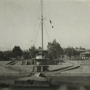 Nederlands Indië; Suez Kanaal, seinpost, seinmast, gebouw