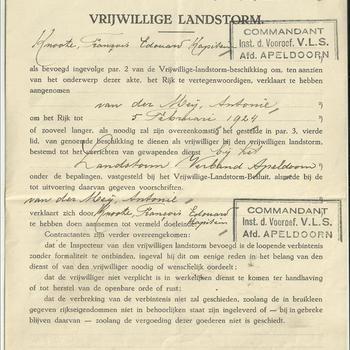 Vrijwillige Landstorm,  Beschikking te dienen als vrijwilliger bij den Vrijwilligen Landstorm, Apeldoorn, Van der Meij  Antonie