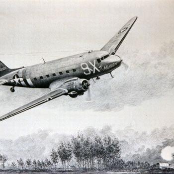 Foto van schilderij van Amerikaans Douglas C-47 transportvliegtuig, neuscode 9X naam The Marion met 88mm kanon.
