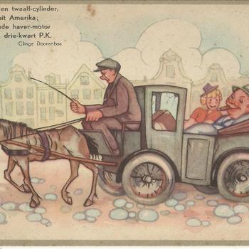 geillustreerde kaart met een tekst van Clinge Doorenbos Vroeger in een twaalf cylinder, rechtstreeks uit Amerika, Thans een oude haver-motor van niet eens drie-kwart P.K.