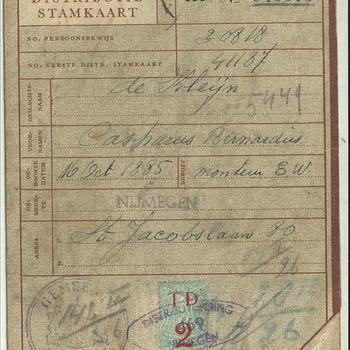 Tweede Distributiestamkaart van :  De Kleijn, Casparus