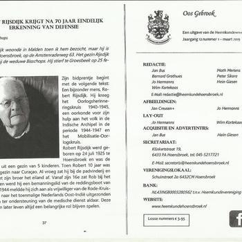 Robert Rijsdijk krijgt na 70 jaar eindelijk erkenning van Defensie