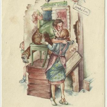 "Kaart met tekening van kussend paar in puinhoop met tekst ""Liefde en wederopbouw"""