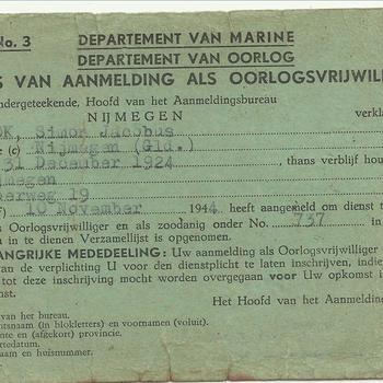 Bewijs van aanmelding als oorlogsvrijwilliger, Nederlands-Indië