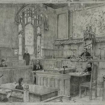 tekening voorstudie Rechtbank in Londen