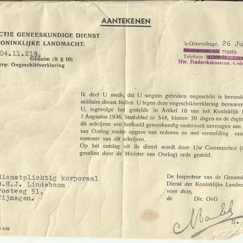 Inspectie Geneeskundige Dienst der Koninklijke Landmacht aan dienstplichtig korporaal B.H.J. Lindeboom te Nijmegen, 26 juli 1950