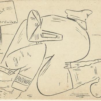 geillustreerde kaart    man van de Landwacht met zijn hoofd in een plas water   op een bord de volgende tekst : hier kan Landwacht onderduiken