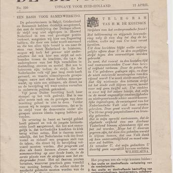 De Bevrijding. No. 220. 12 April 1945. Uitgave voor Zuid-Holland
