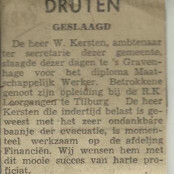 Dhr  W.H.M. Kersten geslaagd voor het diploma Maatschappelijk Werker  1938