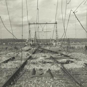 spoorweg, kapotte rail, bovenleiding, Oosterbeek