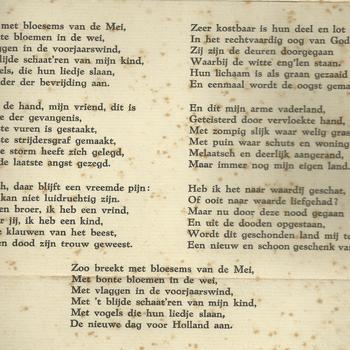 een groet bij de bevrijding van ons Vaderland in mei 1945. Een gedicht van D. v.d. Stoep