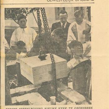 De Gelderlander, mei 1951. Eerste steenlegging nieuwe kerk te Groesbeek.