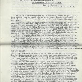 De Grote Luchtlandingstroepen in Nederland in september 1944 door B. Koning Majoor van de Generale Staf