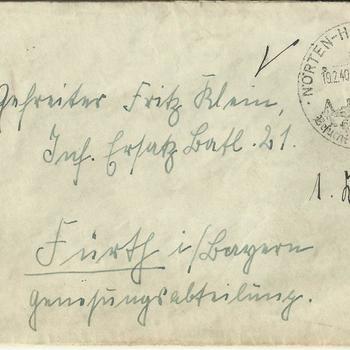 brief aan Fritz Klein, Gefreiter,  28 februari 1940