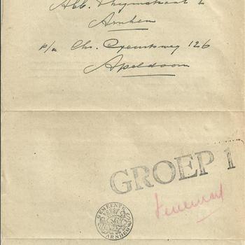 Oproep - aan dhr N.J. Velsing te Arnhem, de wederopbouw van de stad Arnhem is thans zover gevorderd dat U in Uwe woning kunt terugkeren met medeneming van bagage