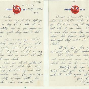 Brief van Dennis Terry aan Maaike van Zandwijk, 10 april 1945