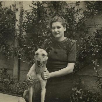 vrouw, hond