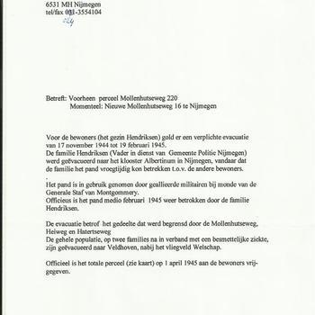 brief van G.J. Hendriksen uit Nijmegen betreffende het perceel Mollenhutseweg 220, nu, Nieuwe Mollenhutsewg 16 te Nijmegen