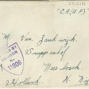 Enveloppe, Brief van Dennis Terry aan Maaike van Zandwijk, 10 april 1945
