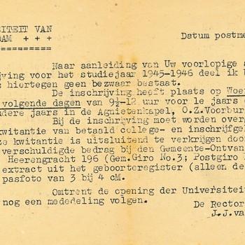 Brief  aan W. Brackman van de Universiteit van Amsterdam