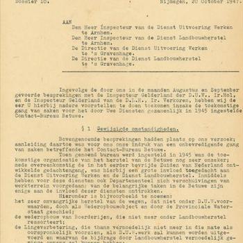 Nadere voorstellen inzake de toekomstige gang van zaken wederopbouw en herstel oorlogsschade in de Betuwe, 20 oktober 1947