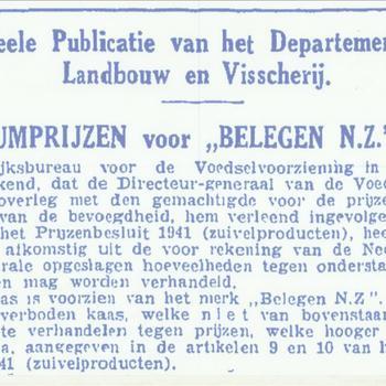 Officiële publicatie van het Departement van Landbouw en Visscherij  de maximumprijzen voor belegen N.Z. kaas