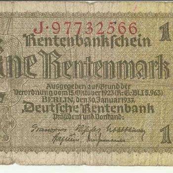 Bankbiljet Duitsland,  Rentenbankschein, Eine Rentenmark, 1937