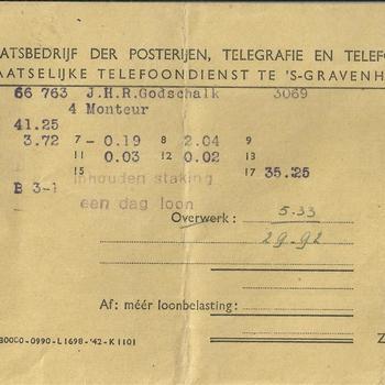 enveloppe gericht aan Godschalk, Jan Hendrik, R   betreffende loon  18-24 juli 1943